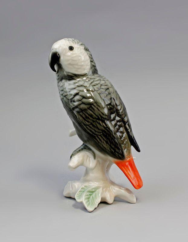 9941460 Porzellan Figur Grau-Papagei Graupapagei  Vogel Ens H16cm