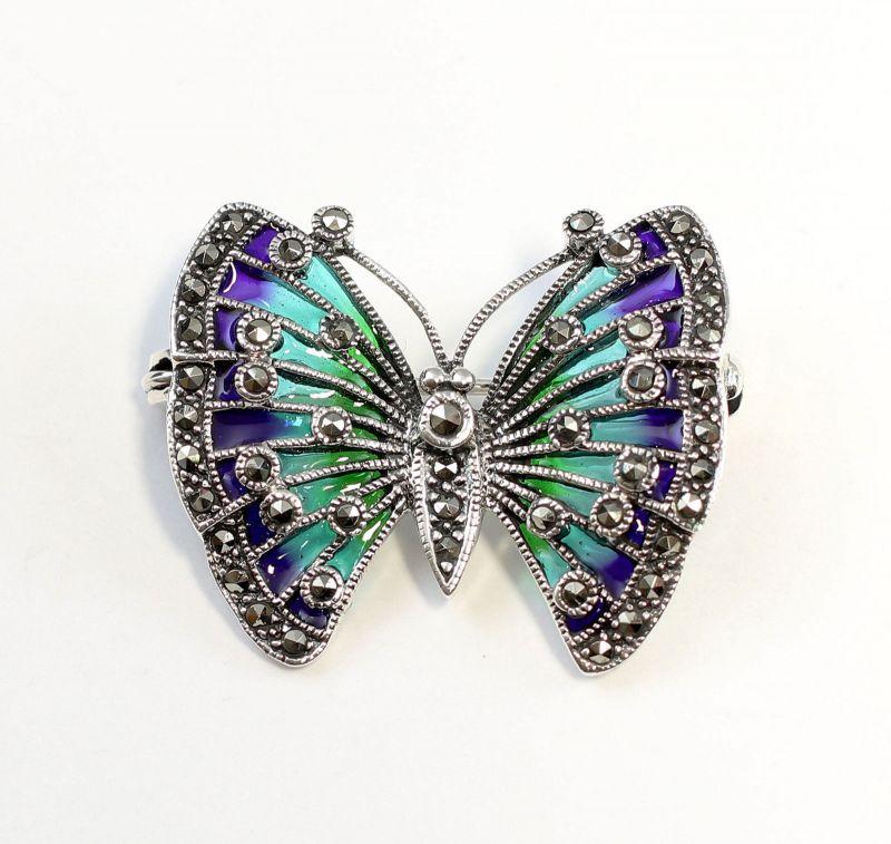 Brosche Schmetterling Silber Email Emaille Broschen & Anstecknadeln Echtschmuck