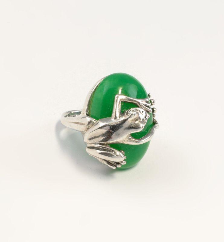 9907198 925er Silber Ring Frosch mit grünem Achat