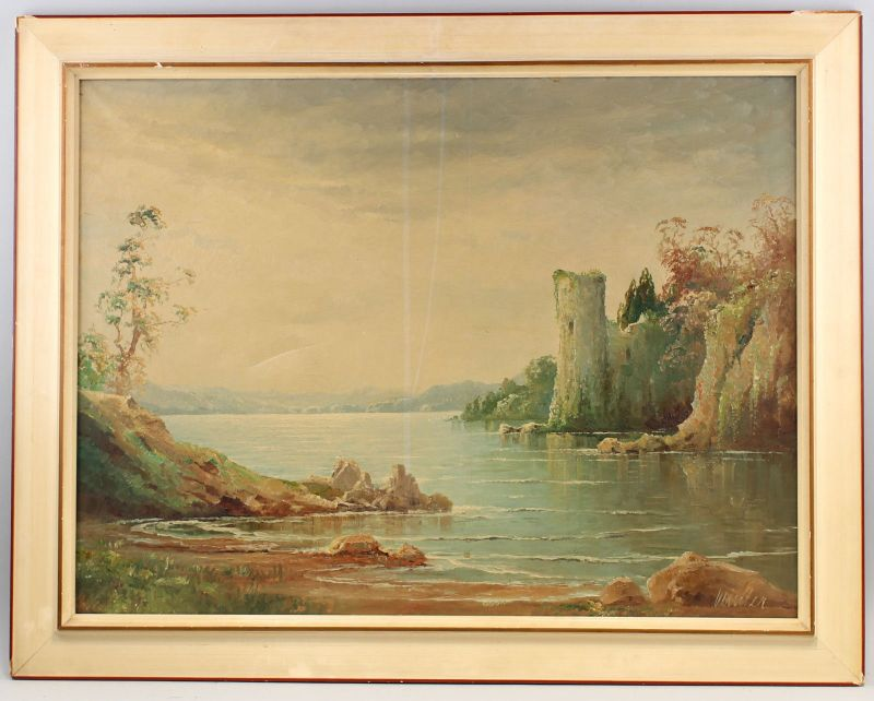 8160022 Öl-Gemälde signiert Landschaft Ruine am Meer