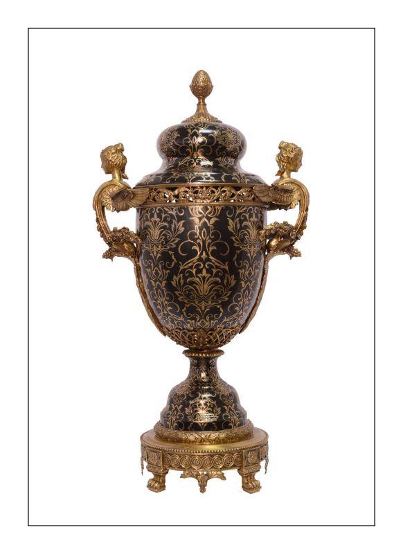 Messing Keramik Deckel Amphore Historismus prunkvoll neu 99937824-dss