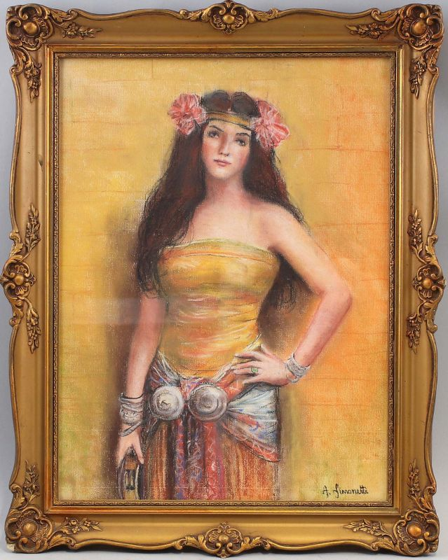 Pastellkreide-Zeichnung Simonetti Porträt einer jungen exotischen Frau 99860025