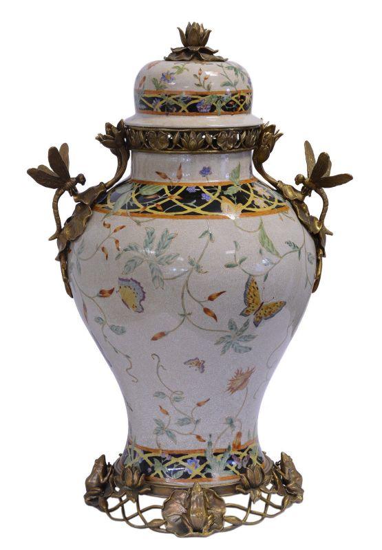 Messing Keramik Deckel Amphore Jugendstil Libelle prunkvoll neu 99937812-dss
