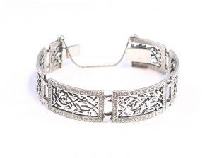 9901700 breiter Armreif Swarovski-Steine 925er Silber Armband Jugendstil