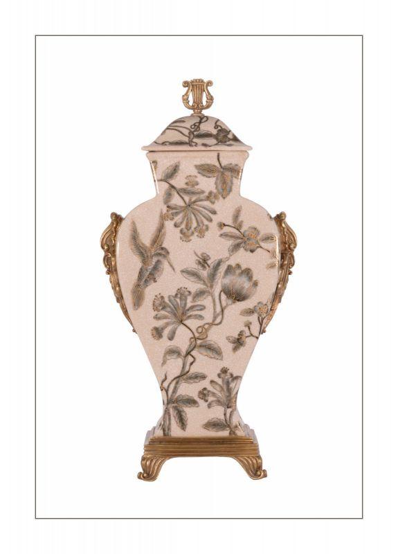 Messing Keramik Deckel Amphore Vase Lyra Jugendstil prunkvoll neu 99937837-dss 0