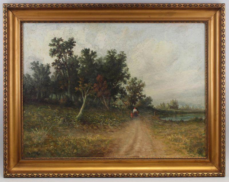 8160021 Öl-Gemälde signiert Adamczyk Landschaft Weg zum Bauernhof Mitte 20. Jh