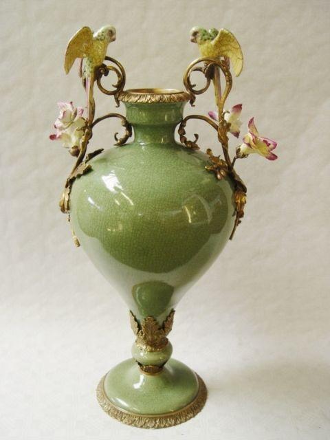 Messing Keramik Amphore Vase Papagei Jugendstil Grün Prunkvoll Neu