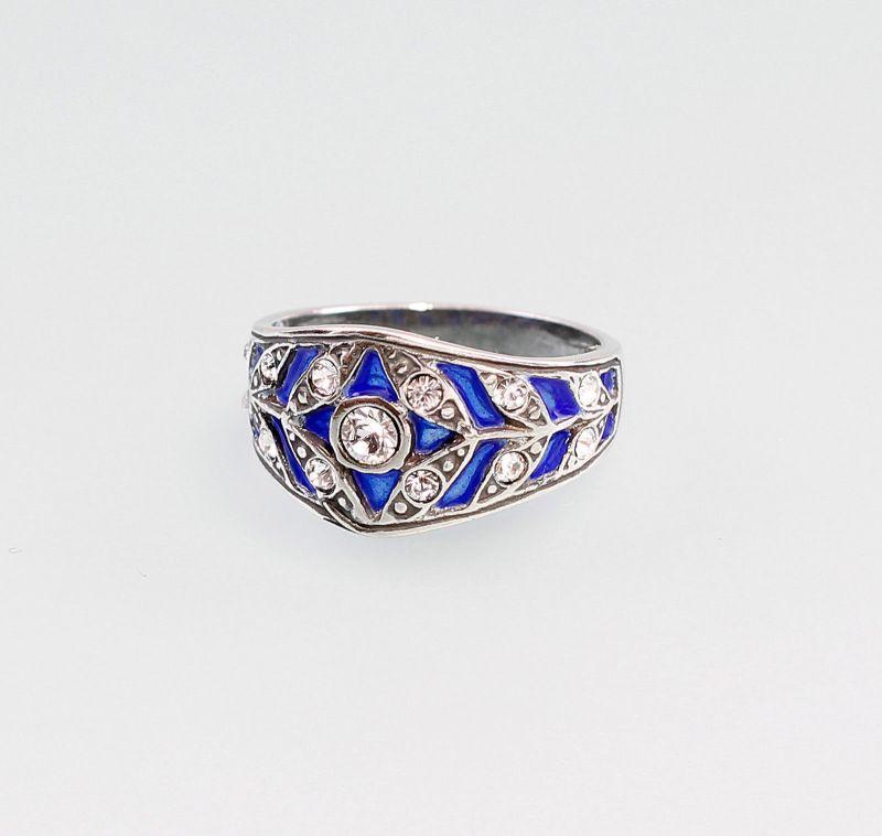 9901275 Ring mit Swarovski-Steinen 925er emailliert blau Silber Gr.55