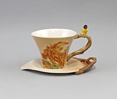Porzellan Tasse mit Untertasse Löwe Dekor plastisch & handbemalt NEU 9952032