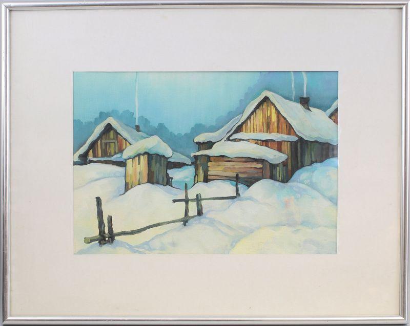 Öl-Gemälde signiert Alex Lock Winterliches verschneites Dorf 99860032