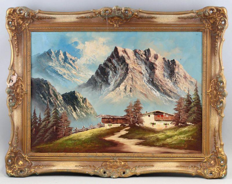 8160014 Öl-Gemälde signiert Alpen Landschaft Stuckrahmen