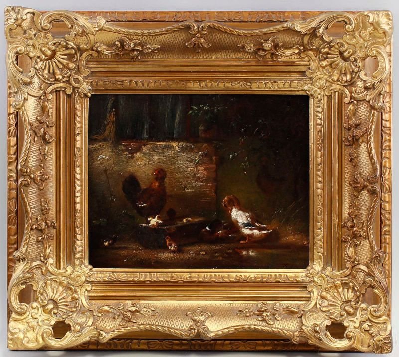 Öl-Gemälde signiert Carl Jutz d.Ä. 1869 Enten und Hühner in Stuckrahmen 99860103 0