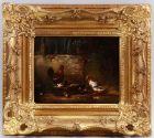Öl-Gemälde signiert Carl Jutz d.Ä. 1869 Enten und Hühner in Stuckrahmen 99860103