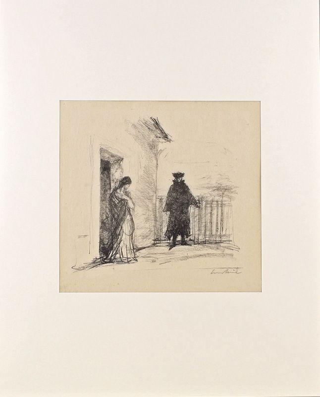 7963042 Orig.-Lithographie handsigniert Hans Meid Willkommen und Abschied Goethe