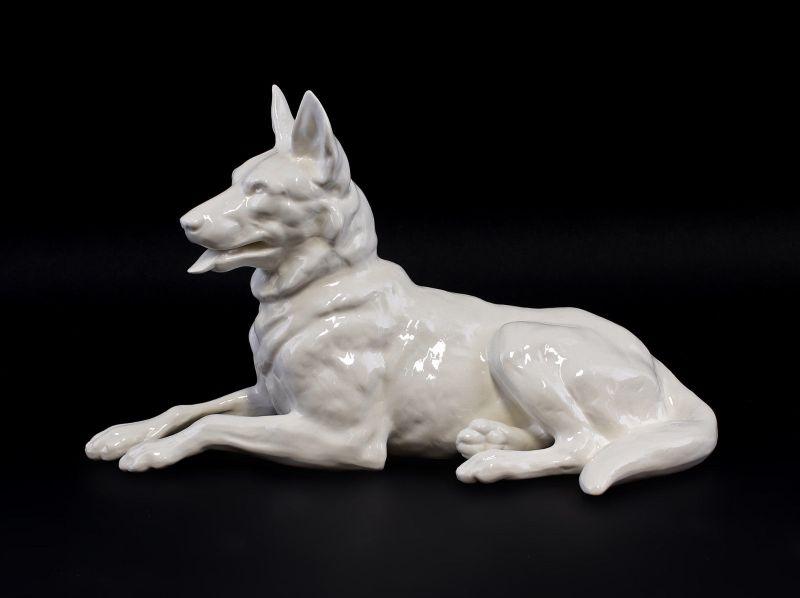 9941929 Ens Porzellan Figur Deutscher Schäferhund Hund Weißporzellan 18x30cm