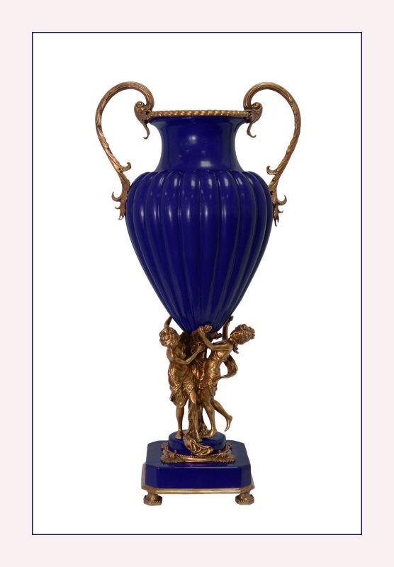 Messing Keramik Henkel Amphore Vase Jugendstil blau prunkvoll neu 99937845-dss