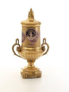 Messing Keramik Deckel Amphore Vase Jugendstil prunkvoll neu 99937860-dss