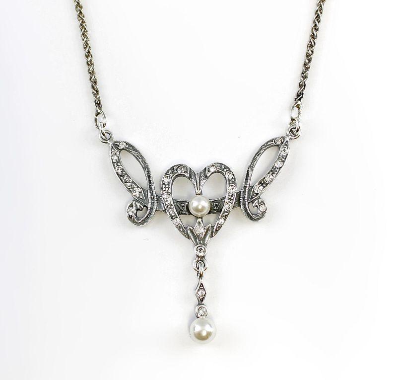925er Silber Collier mit Perlen u. Swarovski-Steinen 9901124