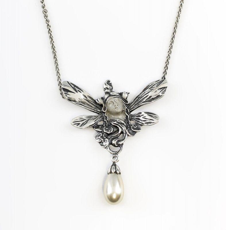 925er Silber Jugendstil Collier Gesicht m. Perle 9901226