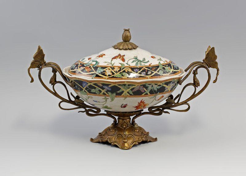Große Terrine mit Schmetterlingen und Blumen Keramik Bronze 9937109