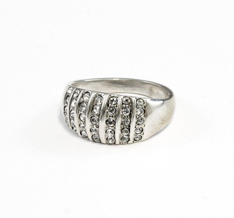 925er Silber Ring mit Swarovski-Steinen Gr. 56 9901244