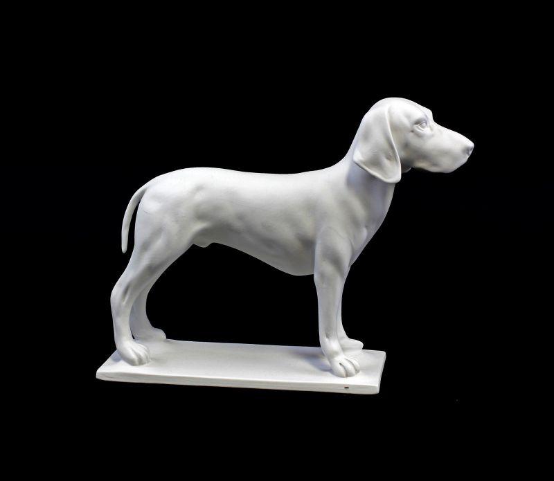 9944395 Porzellan Figur Jagdhund Hund weiß bisquit Kämmer 24x19cm