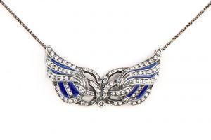 Emailliertes Jugendstil-Collier mit Swarovski-Steinen Flügel blau 9901696