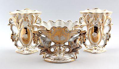 3 Kamin-Vasen-Garnitur Spätbiedermeier Porzellan Gold 99840073