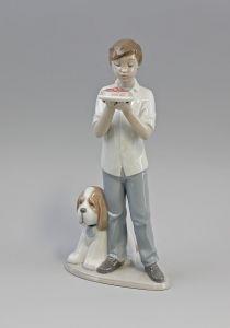 Zum Geburtstag Junge - Torte und Hund Nao Lladro Spanien 9956096