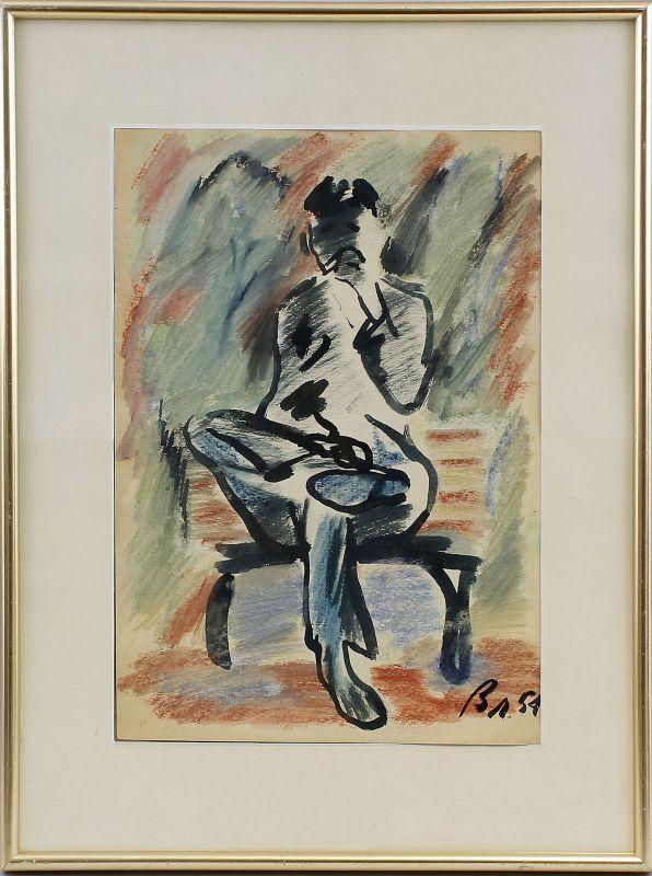 Monogrammist, Porträt eines Sitzenden, um 1959, Aquarell/Pastell/Karton 99860156