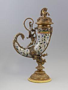 Prunkvoller Tafelaufsatz Trinkhorn Drachen Keramik Bronze 9937566-dss