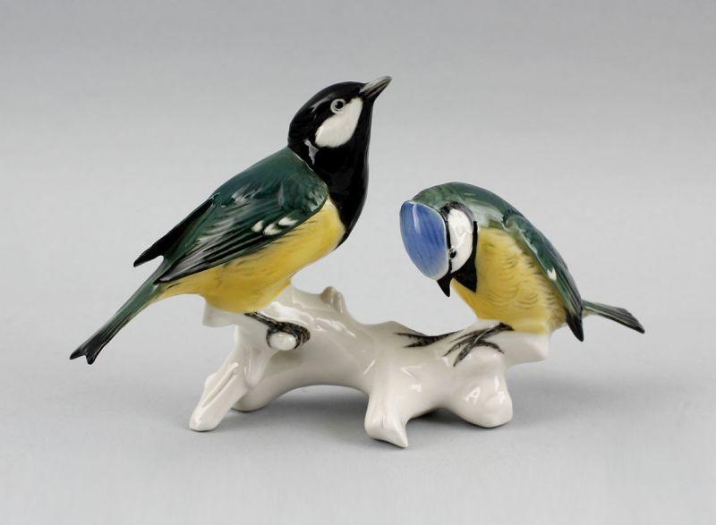 9941224# Porzellan Figur Meisen-Gruppe Blaumeise Kohlmeise Vogel Ens 18x12cm