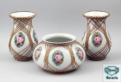 3-tlg. Vasen-Garnitur Thomas-Porzellan Blumendekor und Bast  99840252