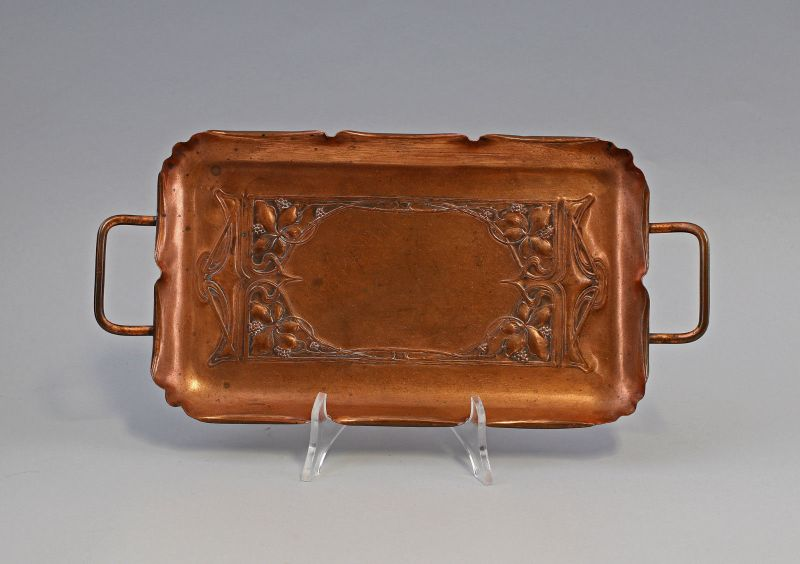Kleines Tablett Jugendstil Kupfer WMF Straußenmarke um 1900 99833056