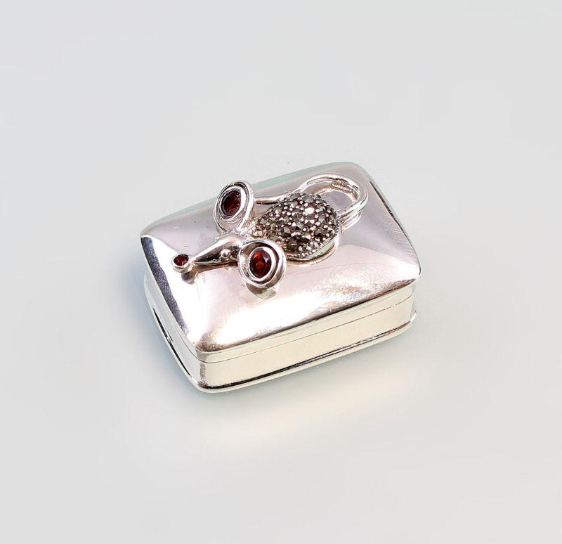 925er Silber Pillendose Döschen mit Maus und Granat 9927536