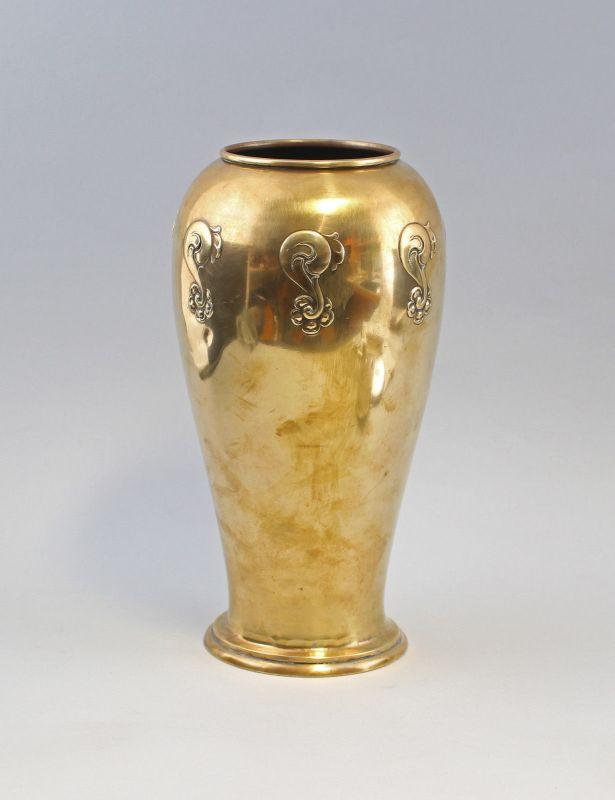 7933021 Messing Vase Art déco Kallmeyer & Harjes Gotha um 1930