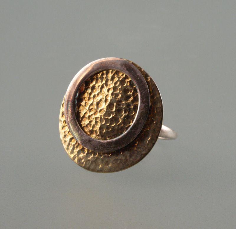 925er Silber Ring Kreise mit Hammerschlagdekor partiell vergoldet Gr.57 9903024