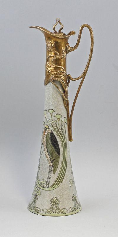 Bronze Keramik Weinkanne Jugendstil Neu 9937560-dss