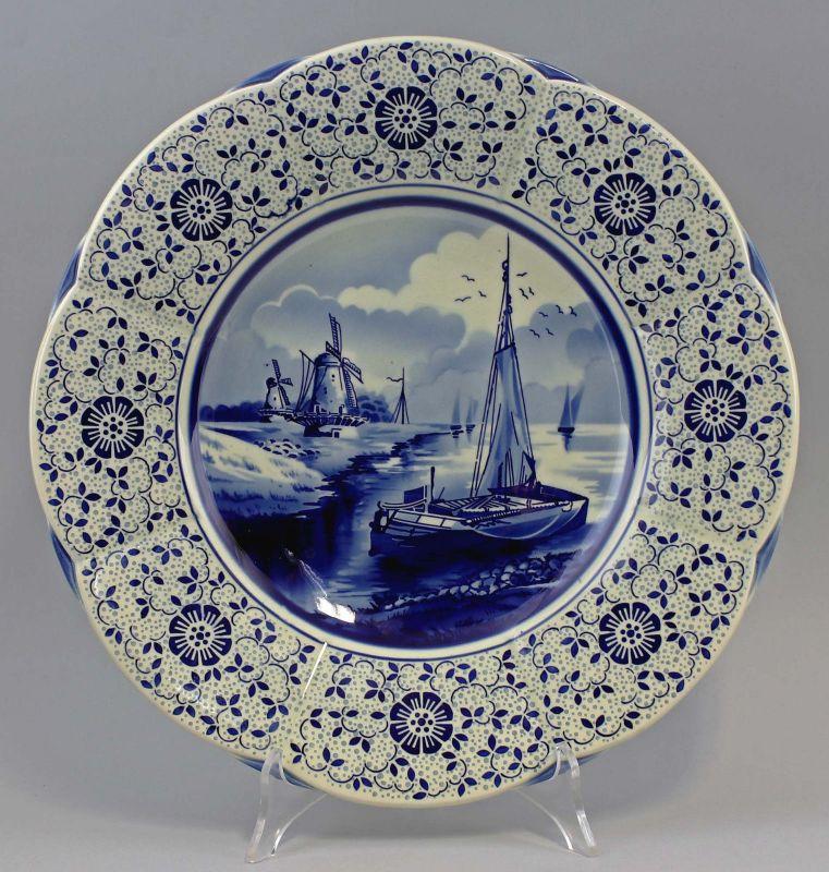 8145026 Keramik Teller Blaudekor Holländer-Dekor Segelboote