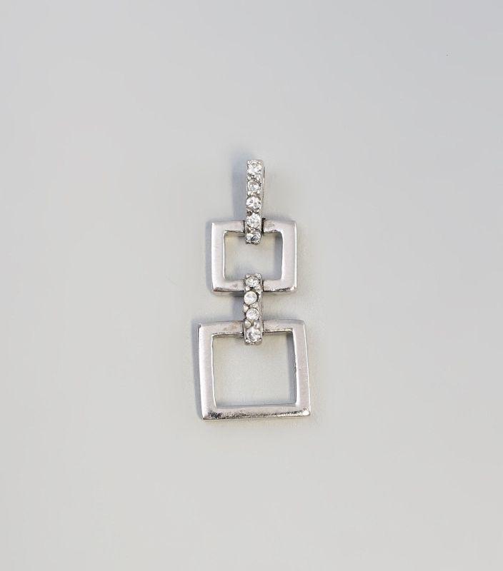 Silberner Anhänger mit Zirkonia-Besatz geometrisch 925er Silber 9927177