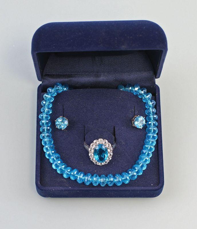 8025128 Garnitur mit türkisblauen Steinen 925er Silber Kette Ohrringe Ring Gr.62