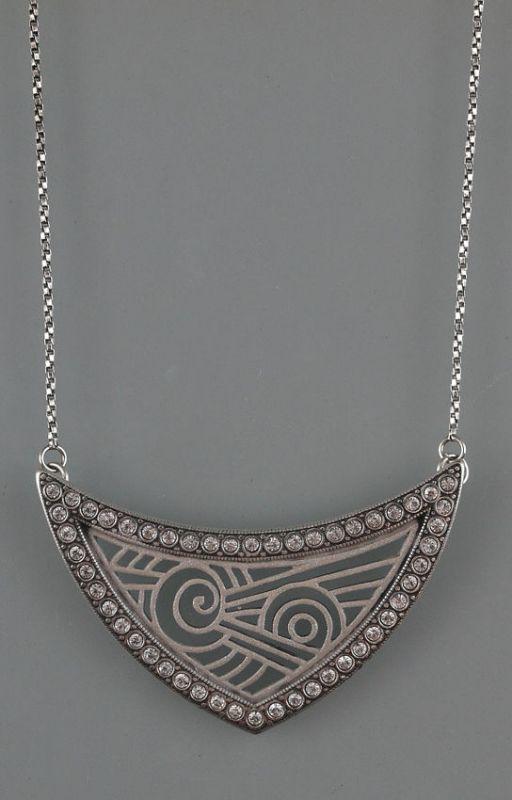 925er Silber Art déco deco Collier mit Swarowski-Steinen Bauhaus 9901202