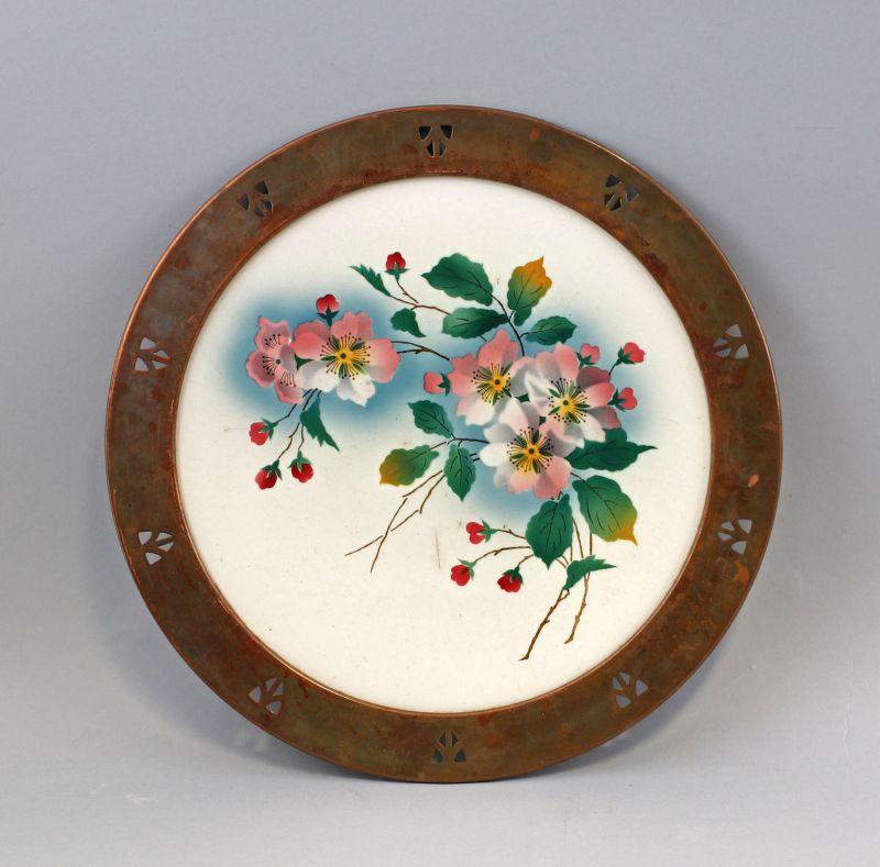 8145020 Keramik Tortenplatte Kuchenteller Jugendstil Kupfer-Montierung