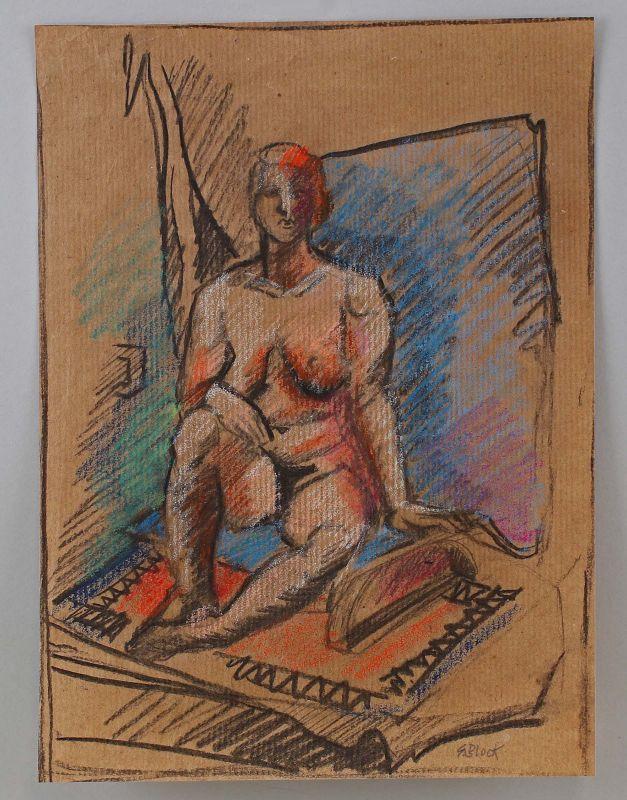 8050009 Sylvia Block, Weiblicher Akt 31x23,5cm Kohle-Zeichnung