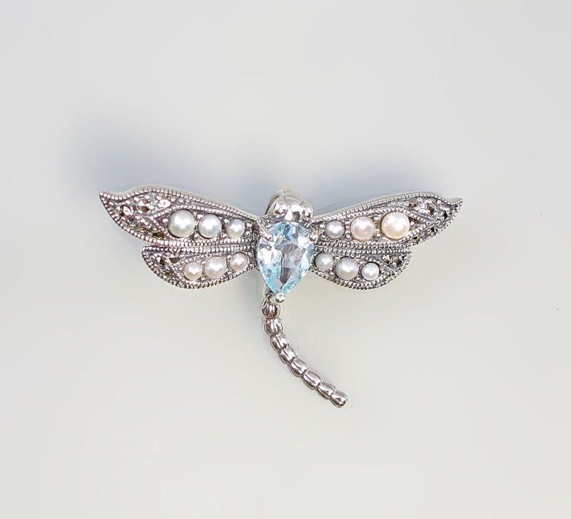 925er Silber Blautopas Perlen Anhänger Libelle 2x3,3cm 9927588