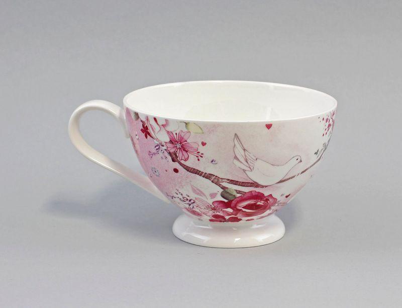 Jameson&Tailor Porzellan große Tee-/Kaffee-Tasse Rose mit Taube 9952202