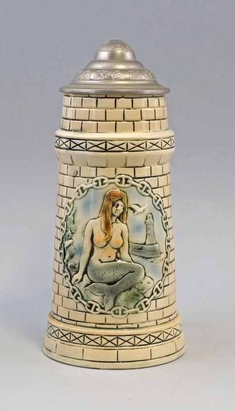 8145017 Keramik Bierkrug in Turmoptik Nixe Humpen Sitzendorf Thüringen