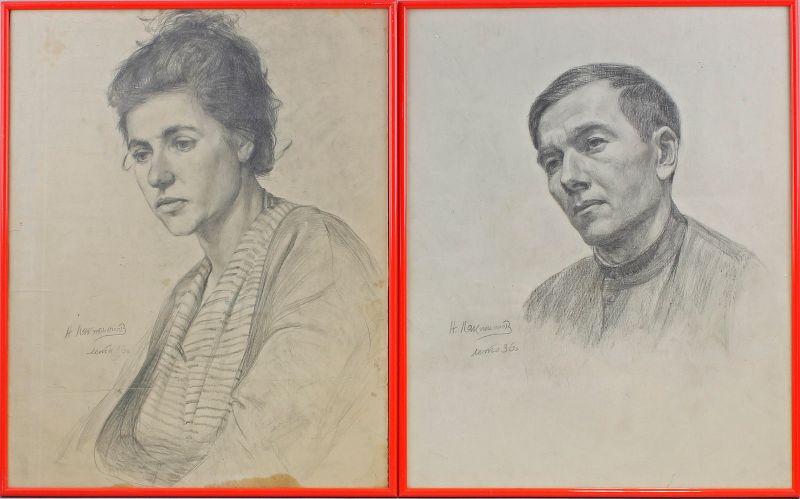 Paar Bleistift-Zeichnungen signiert Alexander Laktionov 1936 Porträts 99863069