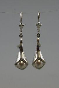 925er Silber Ohrhänger Ohrringe Blüte mit Perlen NEU 9901234