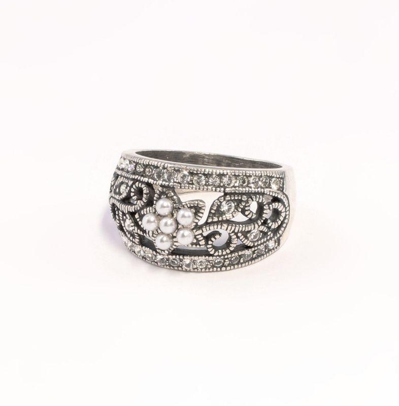 9901365 925er Silber Ring Swarovski-Steine Perle neu Gr.55